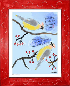 P1063 - Cedar Waxwings Framed Print / Small (8.5 X 11) Red Art