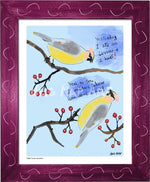 P1063 - Cedar Waxwings Framed Print / Small (8.5 X 11) Violet Art