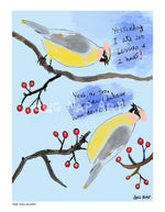 P1063 - Cedar Waxwings Unframed Print / Big (16 X 20) No Frame Art