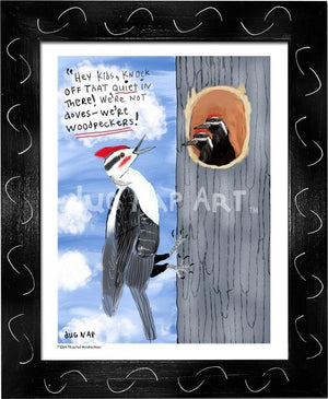 P1064 - Pileated Woodpeckers Framed Print / Small (8.5 X 11) Black Art