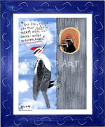 P1064 - Pileated Woodpeckers Framed Print / Small (8.5 X 11) Blue Art