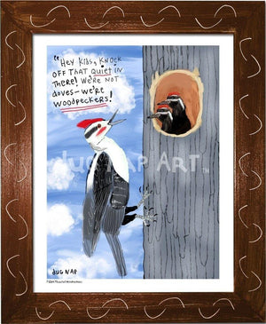 P1064 - Pileated Woodpeckers Framed Print / Small (8.5 X 11) Brown Art