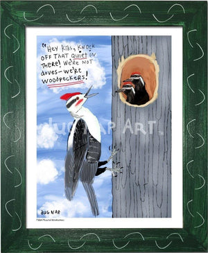 P1064 - Pileated Woodpeckers Framed Print / Small (8.5 X 11) Green Art