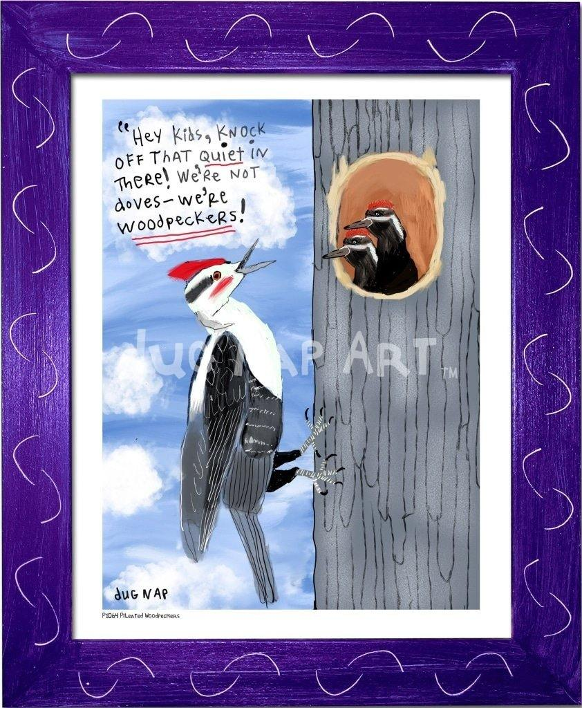 P1064 - Pileated Woodpeckers Framed Print / Small (8.5 X 11) Purple Art