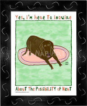 P1072 - Hungry Chocolate Lab 2 Framed Print / Small (8.5 X 11) Black Art