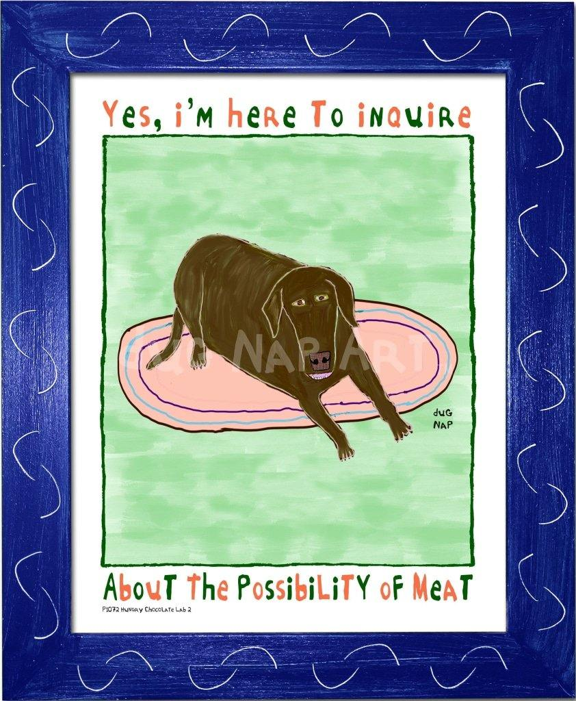 P1072 - Hungry Chocolate Lab 2 Framed Print / Small (8.5 X 11) Blue Art