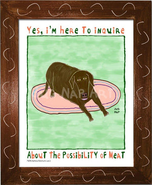 P1072 - Hungry Chocolate Lab 2 Framed Print / Small (8.5 X 11) Brown Art