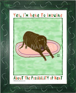 P1072 - Hungry Chocolate Lab 2 Framed Print / Small (8.5 X 11) Green Art