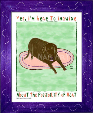 P1072 - Hungry Chocolate Lab 2 Framed Print / Small (8.5 X 11) Purple Art