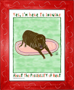 P1072 - Hungry Chocolate Lab 2 Framed Print / Small (8.5 X 11) Red Art