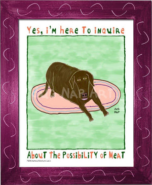 P1072 - Hungry Chocolate Lab 2 Framed Print / Small (8.5 X 11) Violet Art