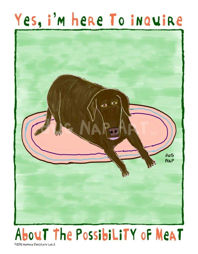P1072 - Hungry Chocolate Lab 2 Unframed Print / Big (16 X 20) No Frame Art