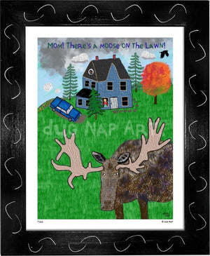 P1162 - Moose On The Lawn Framed Print / Small (8.5 X 11) Black Art