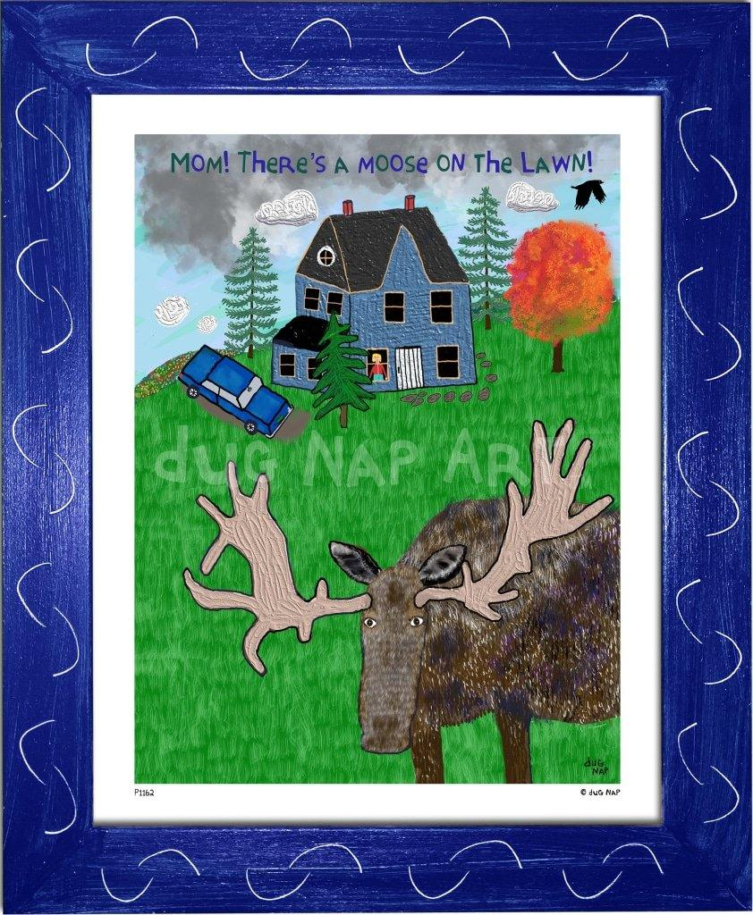 P1162 - Moose On The Lawn Framed Print / Small (8.5 X 11) Blue Art