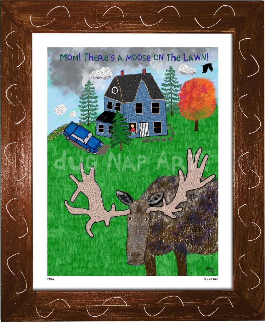 P1162 - Moose On The Lawn Framed Print / Small (8.5 X 11) Brown Art