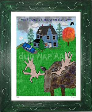 P1162 - Moose On The Lawn Framed Print / Small (8.5 X 11) Green Art