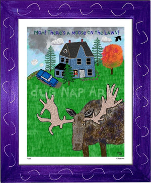 P1162 - Moose On The Lawn Framed Print / Small (8.5 X 11) Purple Art