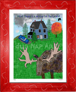 P1162 - Moose On The Lawn Framed Print / Small (8.5 X 11) Red Art