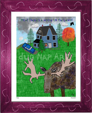 P1162 - Moose On The Lawn Framed Print / Small (8.5 X 11) Violet Art