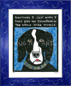 P133 - Dog Pee Framed Print / Small (8.5 X 11) Blue Art