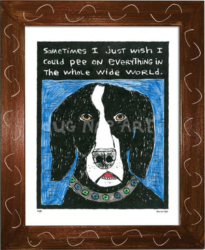 P133 - Dog Pee Framed Print / Small (8.5 X 11) Brown Art
