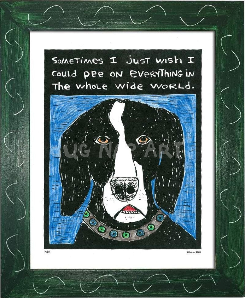 P133 - Dog Pee Framed Print / Small (8.5 X 11) Green Art
