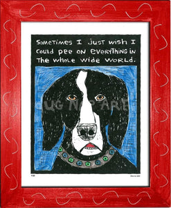 P133 - Dog Pee Framed Print / Small (8.5 X 11) Red Art