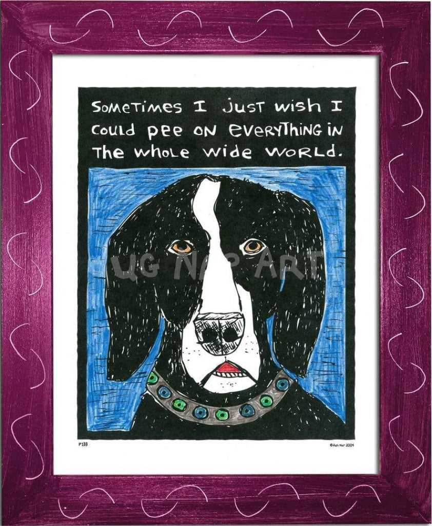P133 - Dog Pee Framed Print / Small (8.5 X 11) Violet Art