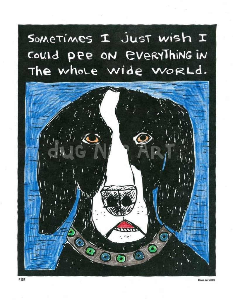 P133 - Dog Pee Unframed Print / Big (16 X 20) No Frame Art