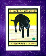 P147 - Lab Watching Ball (Black) - dug Nap Art