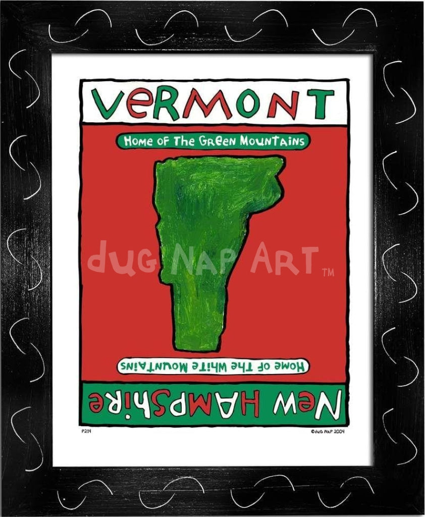 P214 - Vermont / New Hampshire Framed Print Small (8.5 X 11) Black Art