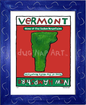 P214 - Vermont / New Hampshire Framed Print Small (8.5 X 11) Blue Art