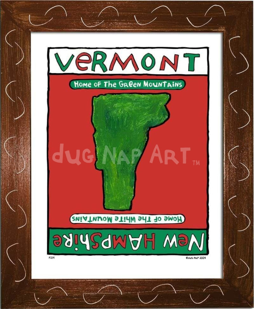P214 - Vermont / New Hampshire Framed Print Small (8.5 X 11) Brown Art
