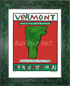 P214 - Vermont / New Hampshire Framed Print Small (8.5 X 11) Green Art