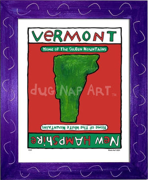 P214 - Vermont / New Hampshire Framed Print Small (8.5 X 11) Purple Art