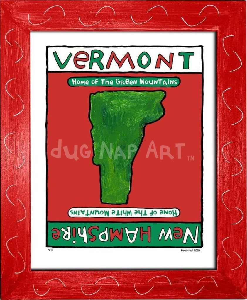 P214 - Vermont / New Hampshire Framed Print Small (8.5 X 11) Red Art