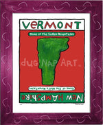 P214 - Vermont / New Hampshire Framed Print Small (8.5 X 11) Violet Art