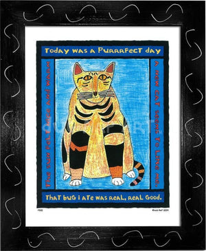 P320 - Purrfect Day Framed Print / Small (8.5 X 11) Black Art