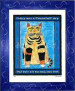P320 - Purrfect Day Framed Print / Small (8.5 X 11) Blue Art