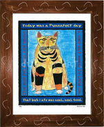 P320 - Purrfect Day Framed Print / Small (8.5 X 11) Brown Art