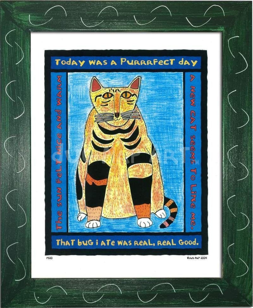 P320 - Purrfect Day Framed Print / Small (8.5 X 11) Green Art
