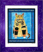 P320 - Purrfect Day Framed Print / Small (8.5 X 11) Purple Art