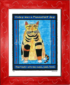 P320 - Purrfect Day Framed Print / Small (8.5 X 11) Red Art