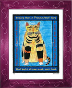 P320 - Purrfect Day Framed Print / Small (8.5 X 11) Violet Art