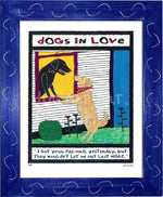 P417 - Dogs In Love Framed Print / Small (8.5 X 11) Blue Art