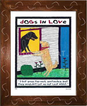 P417 - Dogs In Love Framed Print / Small (8.5 X 11) Brown Art