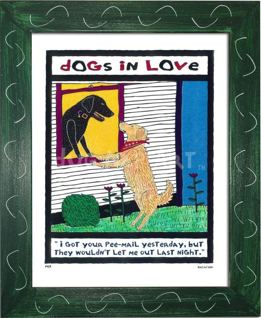P417 - Dogs In Love Framed Print / Small (8.5 X 11) Green Art