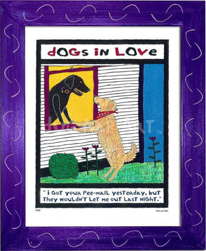 P417 - Dogs In Love Framed Print / Small (8.5 X 11) Purple Art