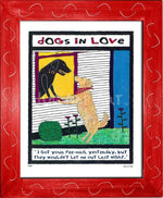 P417 - Dogs In Love Framed Print / Small (8.5 X 11) Red Art