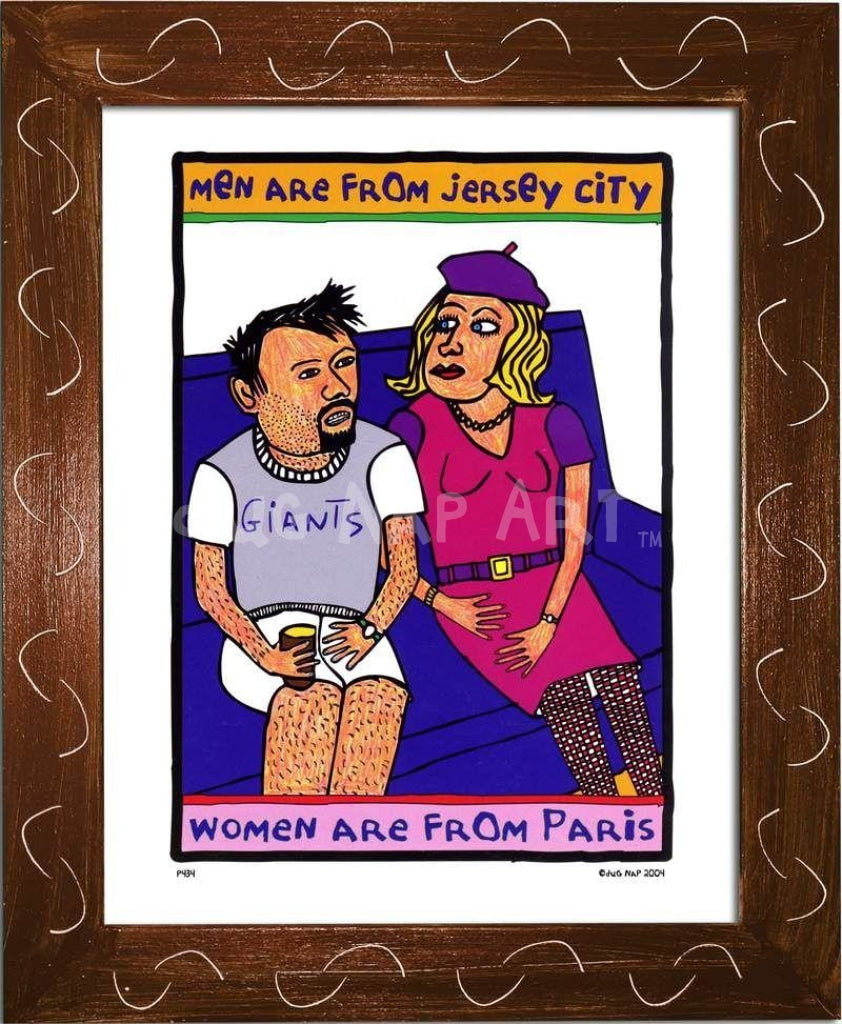 P434 - Men From Jersey Framed Print / Small (8.5 X 11) Brown Art